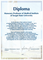 Ehrenprofessur des Medical Institute of Surgut State University